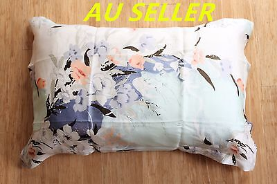 100% Mulberry Pure Silk Pillowcase cover 22 momme Anti Ageing Blue Floral Green
