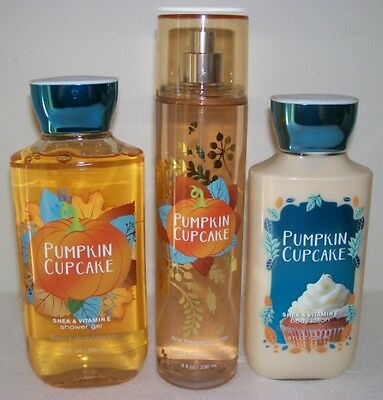 Bath & Body Works Pumpkin Cupcake Full Size Body Care Set Great Autumn Scent!