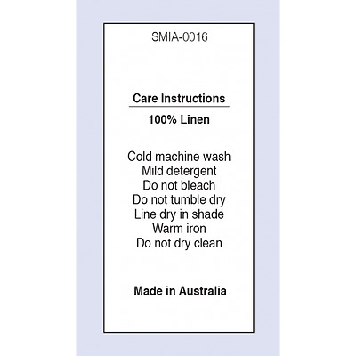 100 % Linen MIA Sewing Washing Care Label on Soft Satin 4 Pack Sizes