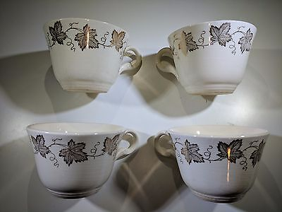 4X - Knowles Porcelain Teacup Coffee Cup Gold Leaf Grape Cluster 22K USA 50