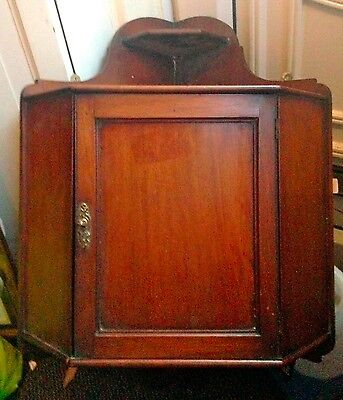 Lovely Antique Victorian Mahogany Hanging Corner Cupboard With Working Lock/key