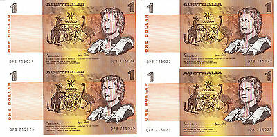 Australia One Dollar Note=Johnson-Stone=Uncirculated=Mint=Consecutive Numbers