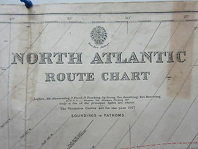 Antique British Admiralty Map Chart North Atlantic Route 1901-1919