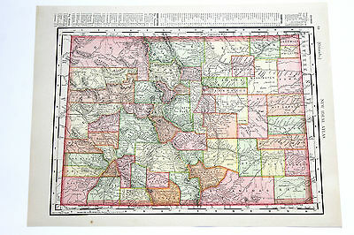 1908 Colorado Map Rand Mcnally Original Railroads Townships Index