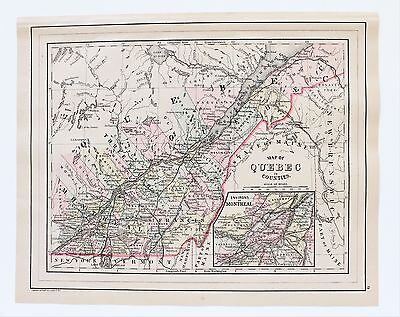 1887 Quebec Montreal Map Canada Railroads Three Rivers St Francis ORIGINAL