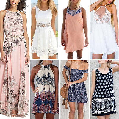 Women Summer Boho Long Maxi Evening Cocktail Party Mini Beach Dresses Sundress