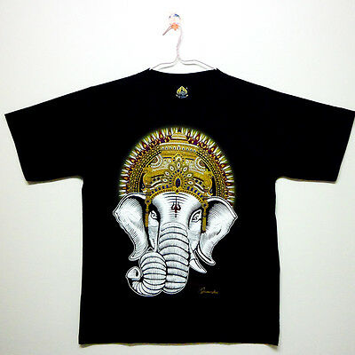 Big Ganesh T-shirts Printed Talisman Amulet Men Size L Black Powerful Holy #1