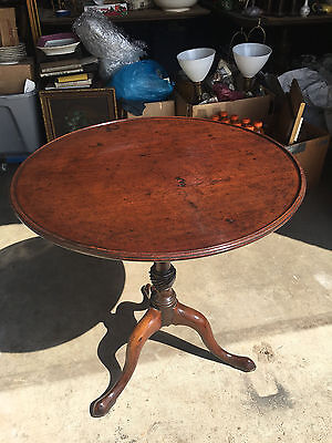 Antique English 19th Century Mahogany Round Flip Top Candle Stand Side Table
