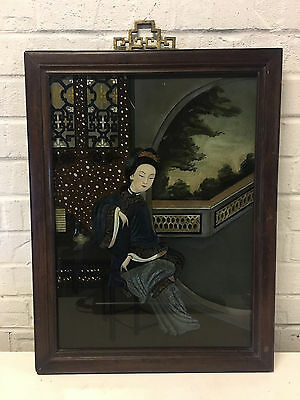 Vintage Antique Chinese Reverse Glass Trade Painting Woman Sitting Wearing Jade