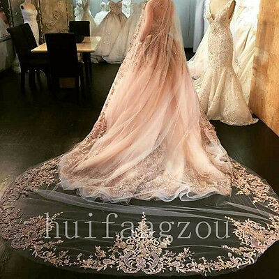 Champagne Long Wedding Veils 1T Appliques With Comb 3 M Bridal Veil In Stock