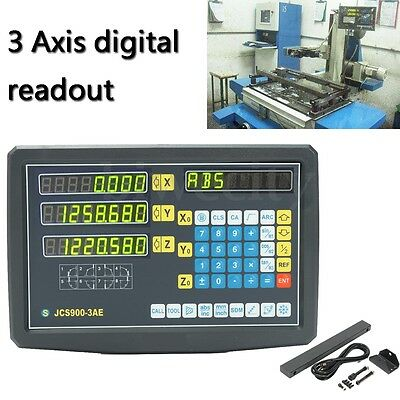 3 Axis Digital Display Readout Dro And 3 Linear For Mill Lathe Machine Durable