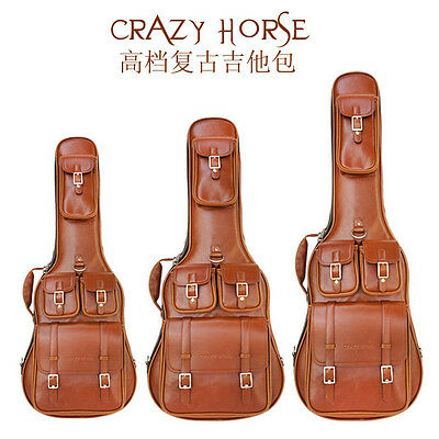 Vintage Crazy Horse  Acoustic Electric Guitar Bass bag Soft case Leather Gig bag