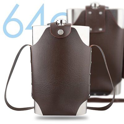 64oz Outdoor Stainless Steel Hip Flask with Leather Carry Bag Large Capacity