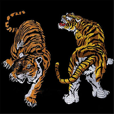 Large Tiger Embroidered Sew On Patches Clothes Bag Fabric Applique Badge Craft