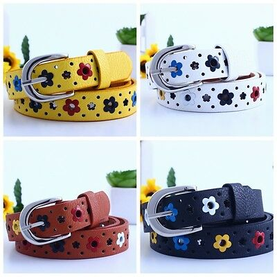 Kids Girls Flower Belt Child Faux Leather Waistband Buckles Cute Buckle Strap