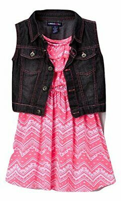 Limited Too Girls' Knit Fashion Dress and Black Denim Vest New  MSRP$48.00