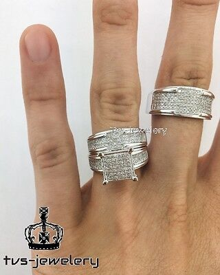 10K White Gold Trio Diamond Engagement Ring Set His & Her Bridal Wedding Band
