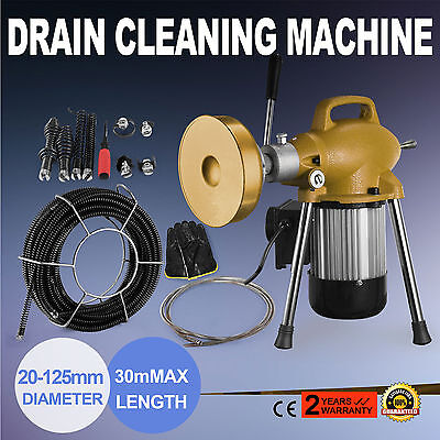 "3/4"" to 5"" Sectional Pipe Drain Cleaning Machine Snake Cleaner Sewer Tool Set"