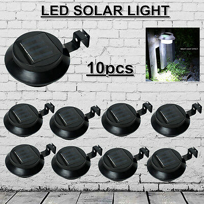 Au 10Pcs Solar Powered Wall Fence Door Stair Step Lights Led Outdoor Lighting
