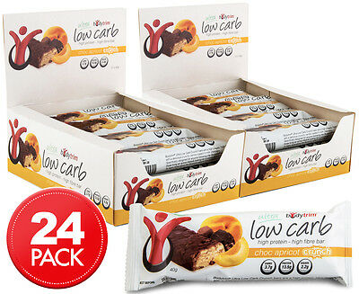 2 x Bodytrim Low Carb Choc Apricot Crunch Bar 40g 12pk