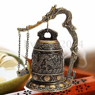 Chinese Brass Bell Carved Dragon Buddhist Buddha''s Clock Bronze Good Luck Bell