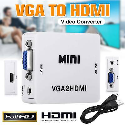VGA to HDMI Mini Full HD Video 1080P Audio Converter Adapter for PC Laptop DVD