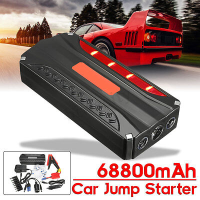 68800mAH 12V Car Jump Starter Pack Booster Charger Battery Power Bank Jumper USB