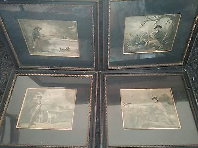 set of 4 antique engravings of hunting scenes,dogs,shooting,game