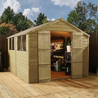 12 x 8 Pressure Treated Apex Shiplap T&G Wooden Garden Shed - By Waltons