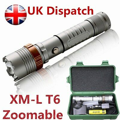 5000LM XML T6 LED Flashlight Zoomable Adjustable Torch Lamp Tactical Tent Light