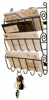 WALL MOUNT LETTER RACK - INTERHOME © Key Holder Hooks Hanging Rack Organizer