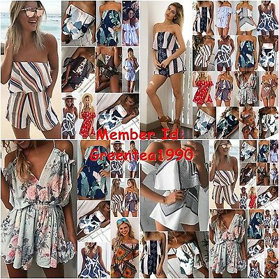 UK Womens Summer Holiday Mini Playsuit Ladies Jumpsuit Beach Shorts Dress 6 - 16