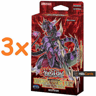 3x YuGiOh Cards Dinosmasher's Fury Structure Decks SR04 3 Sealed Decks Dinosaurs
