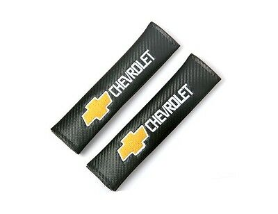 2x carbon fibre car seat belt cushion cover pads for CHEVROLET CHEVY (UK stock)