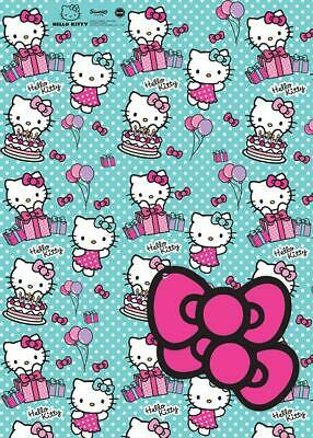 Hello Kitty Wrapping Paper & Tags - 2 Gift Wrap Sheets & 2 Tags