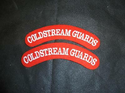 Pair of Coldstream Guards Cloth Shoulder Titles Badges Patches