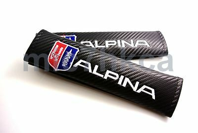 2x carbon fibre seat belt cover shoulder pads for ALPINA mod BMW (UK stock)
