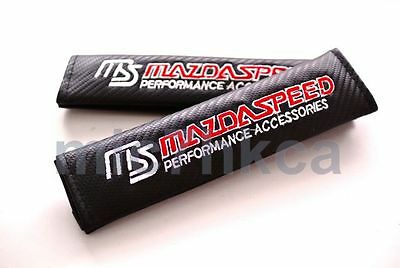 2x carbon fibre seat belt cover shoulder pads for MAZDASPEED mod Mazda (UK stock