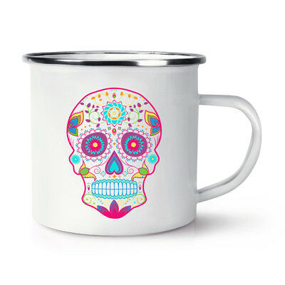 Colourful Sugar Skull Retro Enamel Mug Cup - Candy Pattern