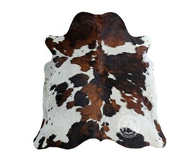 New COWHIDE RUG TRICOLOR 6'x6' Cow Skin Rug Leather Cow Hide Carpet