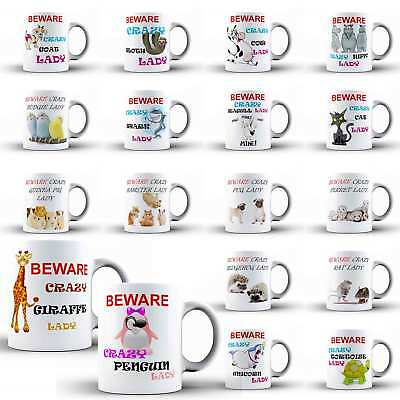 Crazy Lady Woman Funny Ceramic Office Coffee Tea MUG Animal Cup Novelty Gift