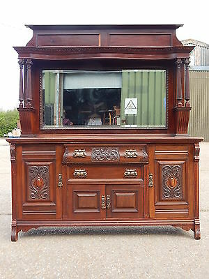 Large antique Victorian solid walnut carved sideboard dresser with mirror back