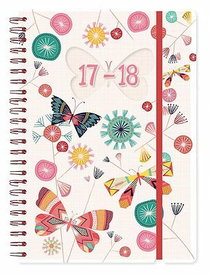 Butterflies Academic Year 2017 2018 A5 Day a Page Spiral Student Fashion Diary