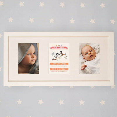 Personalised Twin Baby Illustrated Wall Frame Newborn Christening Birthday Gift