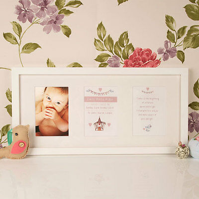 Personalised Wall Mount Baby Illustrated Frame Newborn Christening Baptism Gift