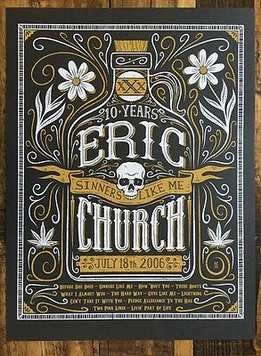 Eric Church Poster Sinner Like Me 10 Anniversary Variant Signed & Numbered #/20