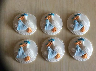 Edible sugar paste Stork cup cake toppers baby shower christening blue 6/12/24