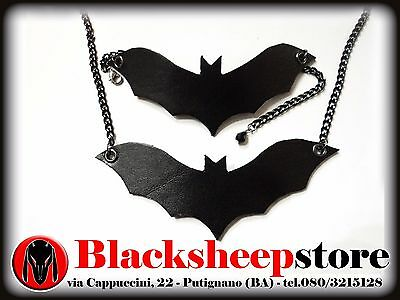 set collana e bracciale in vera pelle Halloween Pipistrello Bat Made in Italy