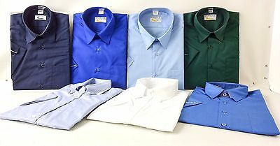 New Mens Short Sleeve Shirt Business Work Smart Formal Casual Dress Shirt