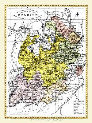 "16/"" x 12/"" Photographic Print Old map of Lanarkshire 1847 by A/& C Black"
